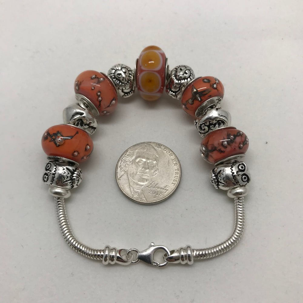 Safari Glass Bead Charm Sterling Silver Bracelet