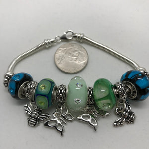 Load image into Gallery viewer, Butterflies, Bees, 'n CZs Glass Charm Bead Bracelet