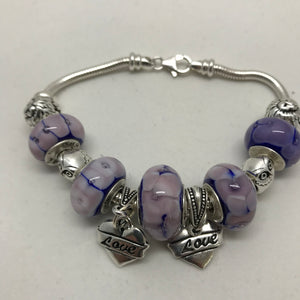 LUV Blue Lavender Glass Bead Charm Bracelet