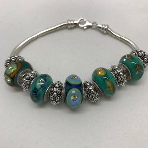 Blue Green Peacock Glass Charm Bead Bracelet