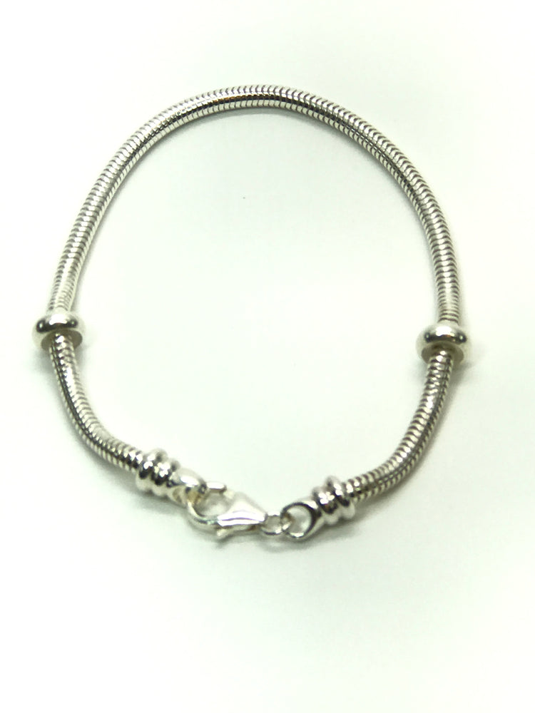 Sterling Silver 3mm Snake Chain Bracelet-Design Your Own European-style