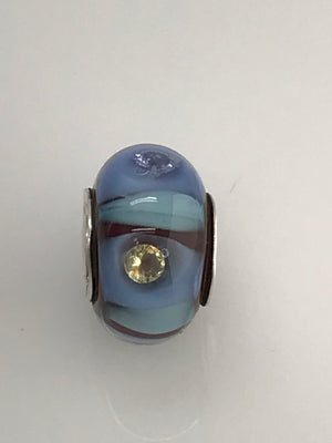Ruby Baby Blues n' CZs Glass Bead Charm