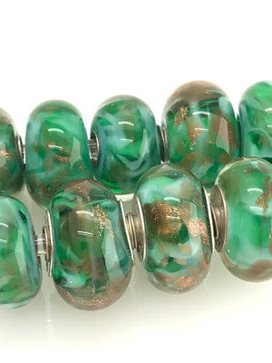 Green Multicolor Glass with Swirling Goldstone Glass Bead Charms