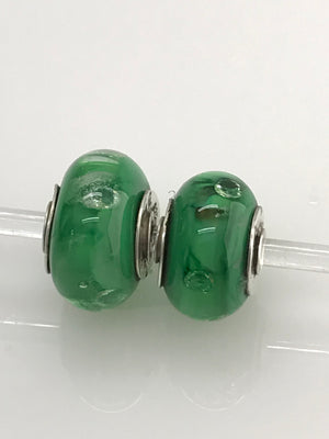 'Soft Green' with Floating CZs Embedded in Glass: Glass Bead Charms