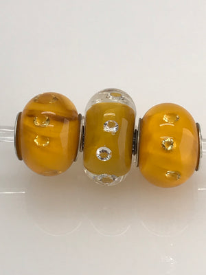 Lemon Yellow with 3mm Clear Cubic Zirconias (CZs): Glass Bead Charms