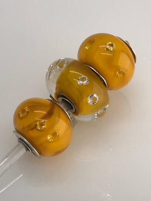 Load image into Gallery viewer, Lemon Yellow with 3mm Clear Cubic Zirconias (CZs): Glass Bead Charms