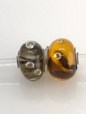 Beige or Yellow Goldstone Sparkle with 3mm Clear CZs: Glass Bead Charms