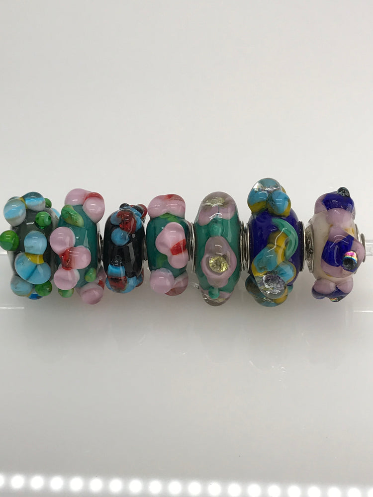'FLOWERS' Glass Bead Charms