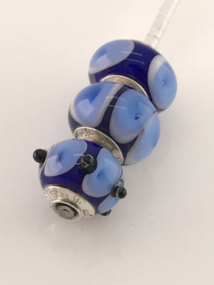 'Blue Bubbles' Glass Bead Charms