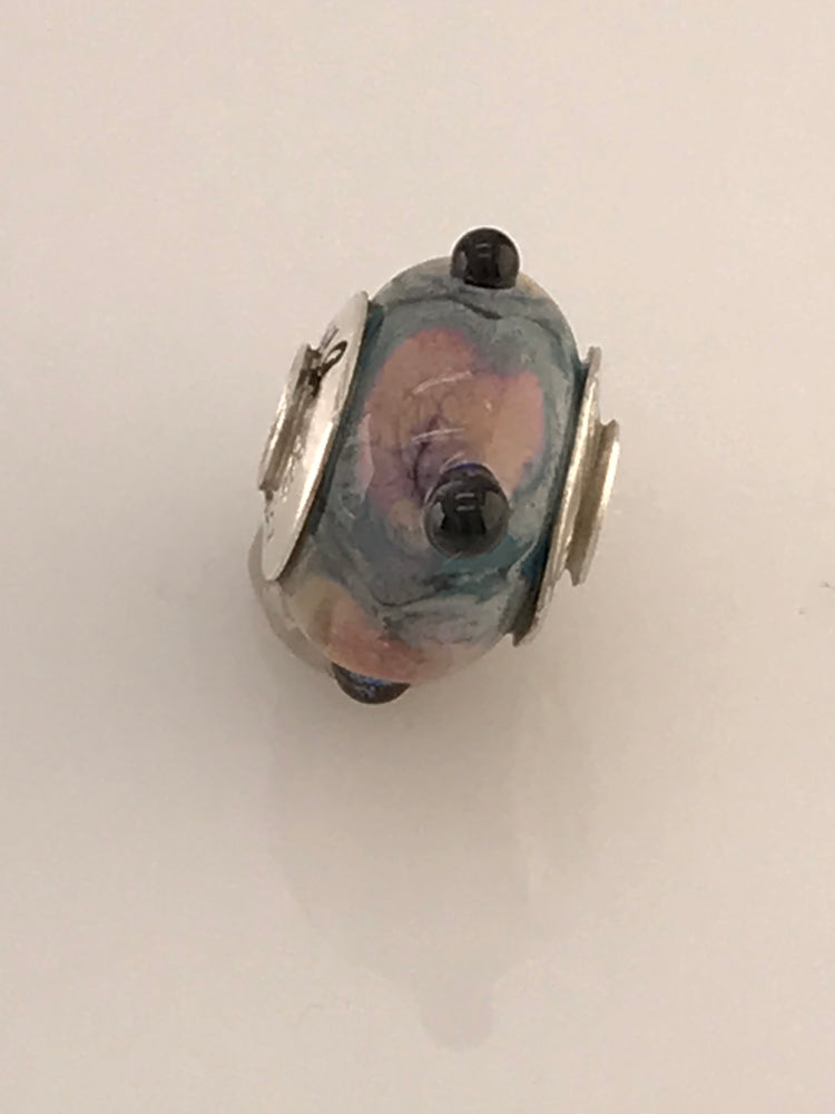 Load image into Gallery viewer, 'Monet' Glass Bead Charm with Sterling Silver Core and Bead Caps with Soft Pastel Colors
