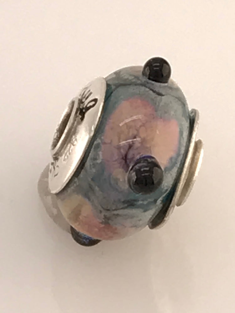 'Monet' Glass Bead Charm with Sterling Silver Core and Bead Caps with Soft Pastel Colors