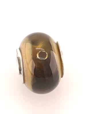 Load image into Gallery viewer, 'Caramel Brown Cyclops' with One Floating CZs Embedded in Glass: Glass Bead Charms