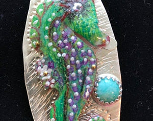 Sterling Silver and Prismacolor Seahorse, the first in the' Fish of the Sea' Limited Collection