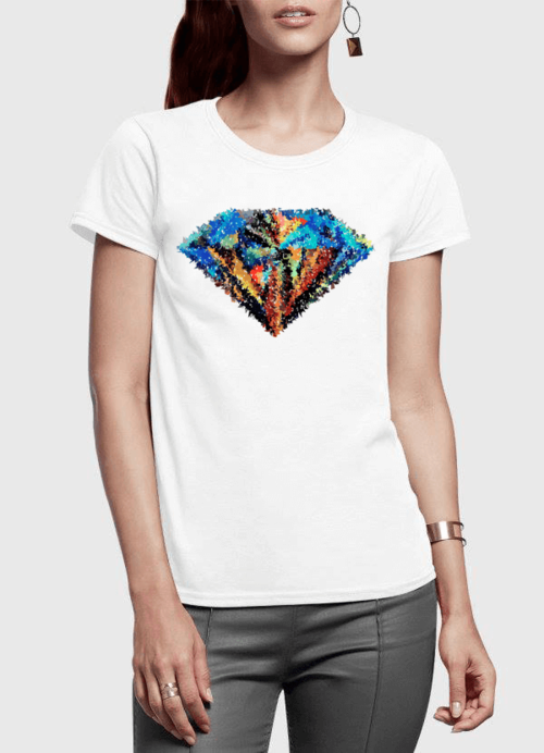 Abstract Super Logo Half Sleeves Women T-shirt