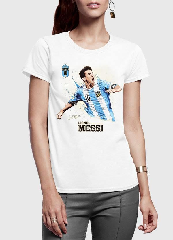 Messi Half Sleeves Women T-shirt