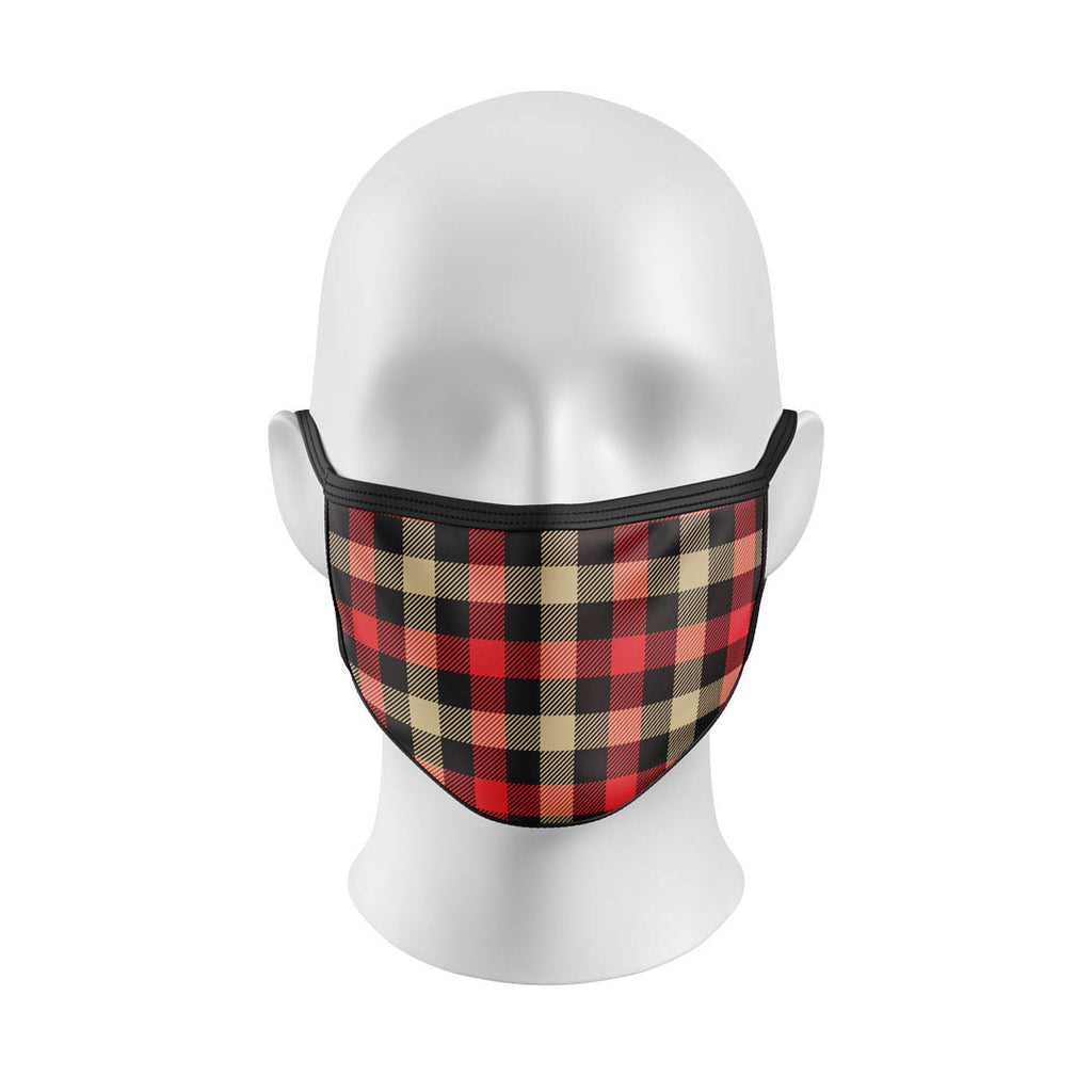 Brown and Red Flannel Mask