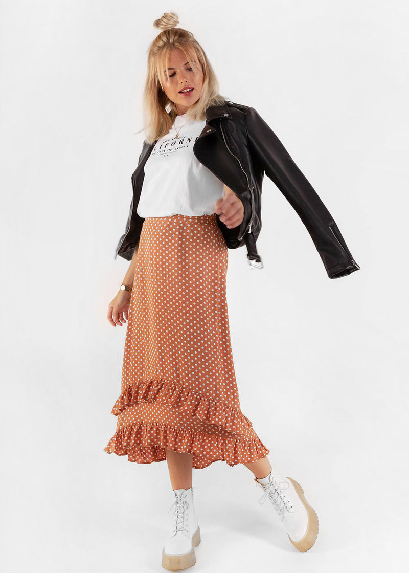 A DOTTED MIDI SKIRT