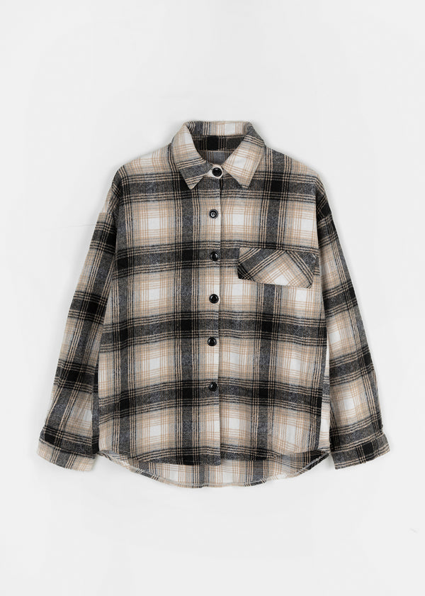 CHECK SHIRT | BEIGE