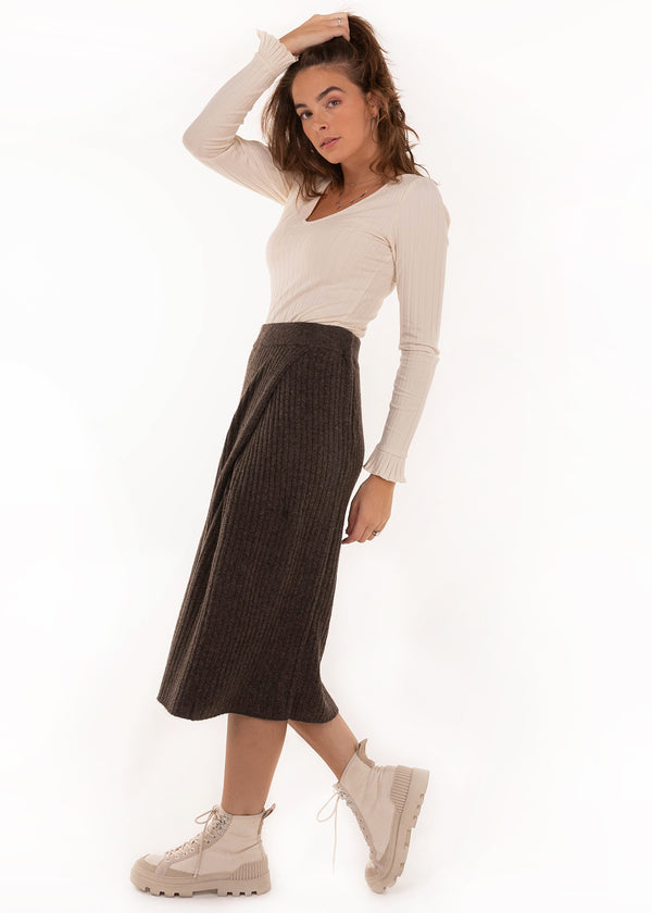 SUNA SKIRT | BROWN