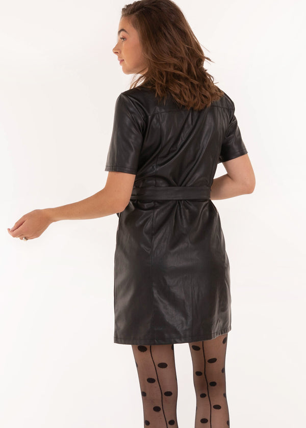 FAUX LEATHER DRESS
