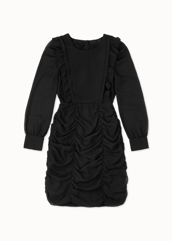 RUFFLE BLACK DRESS