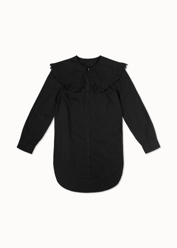 BRODERIE COLLAR SHIRT | BLACK