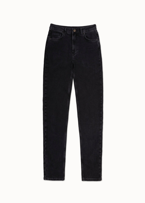 LEAH MOM JEANS | DARK GREY