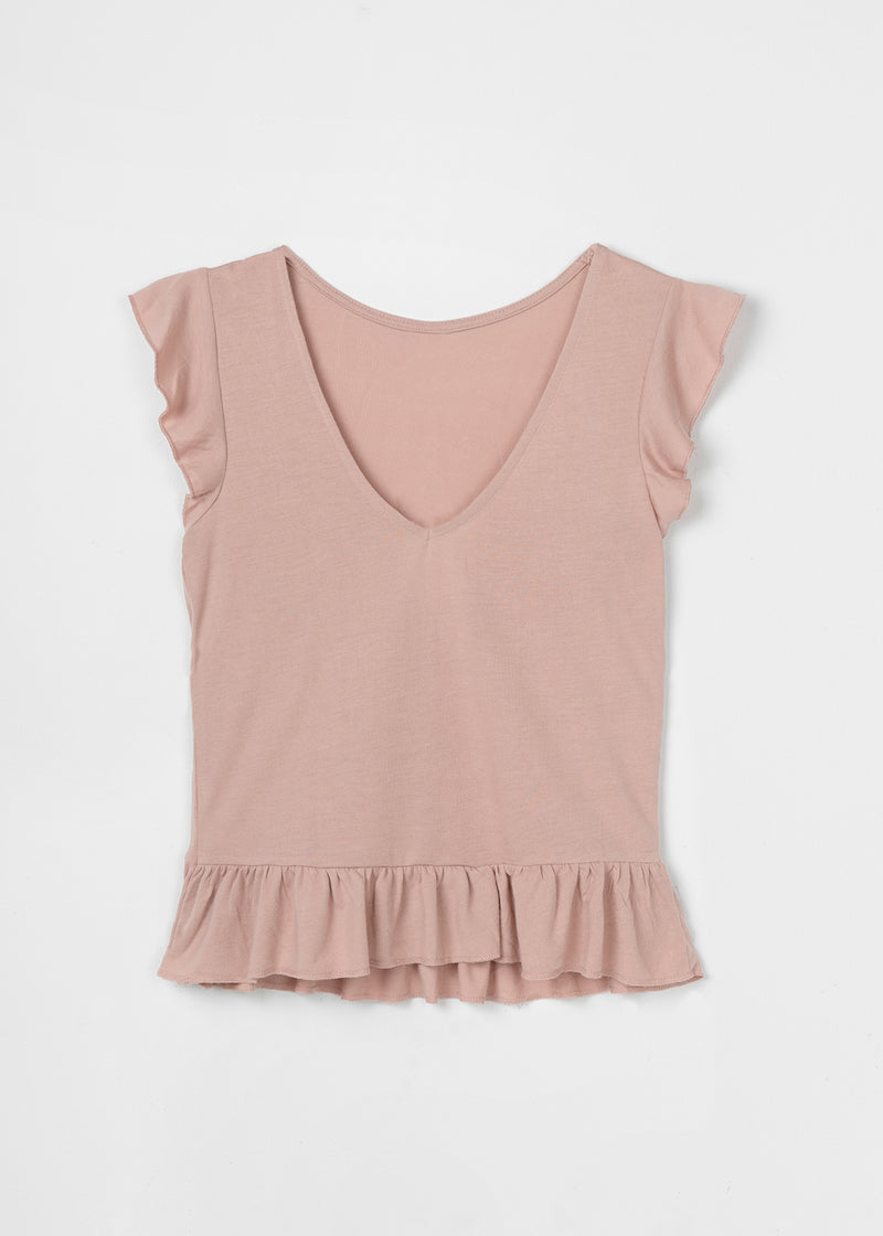 LIV RUFFLE TOP | OLD ROSE