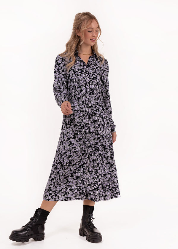 MIDI FLOWER DRESS | BLACK
