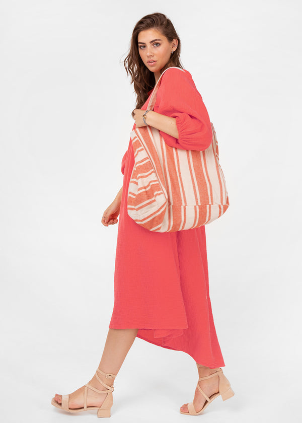 LINA CANVAS SHOPPER | CORAL