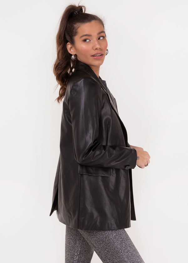 RUBY PU BLAZER | BLACK