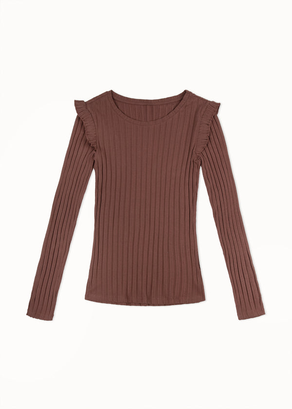 RUFFLE TOP | SADDLE BROWN