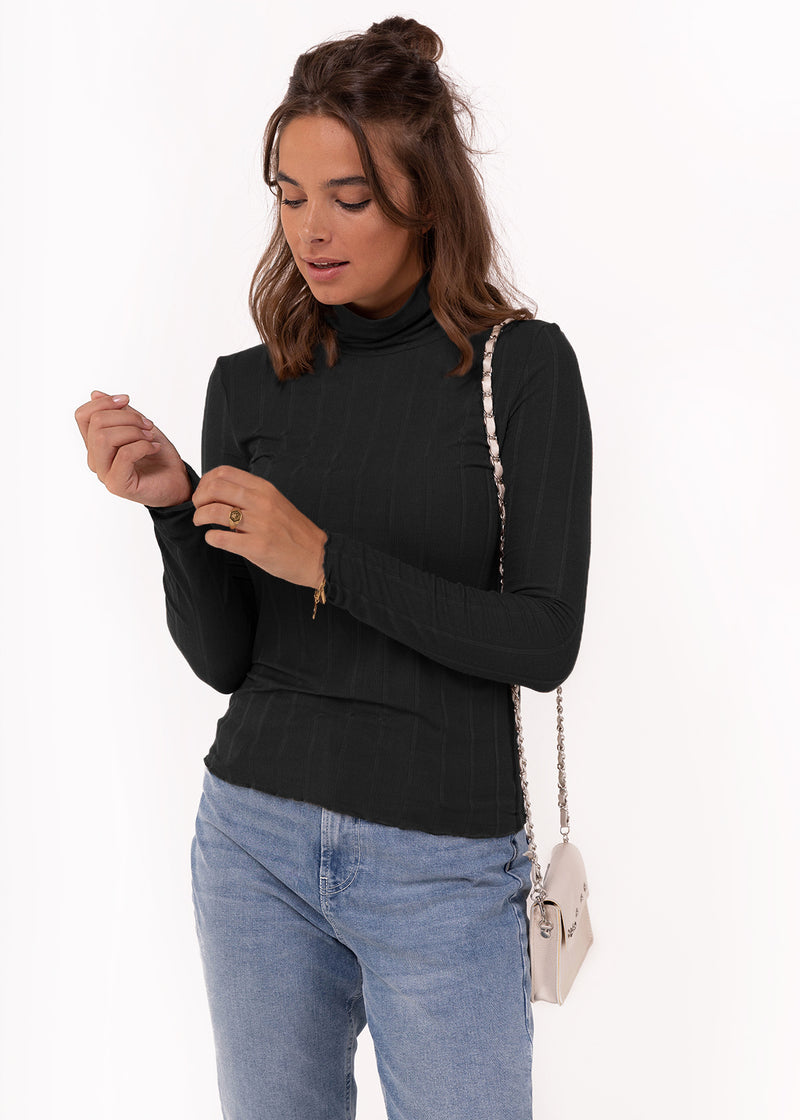 SARA ROLL NECK | BLACK