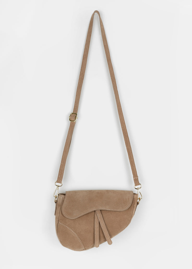 SUEDE SADDLE BAG | TAUPE