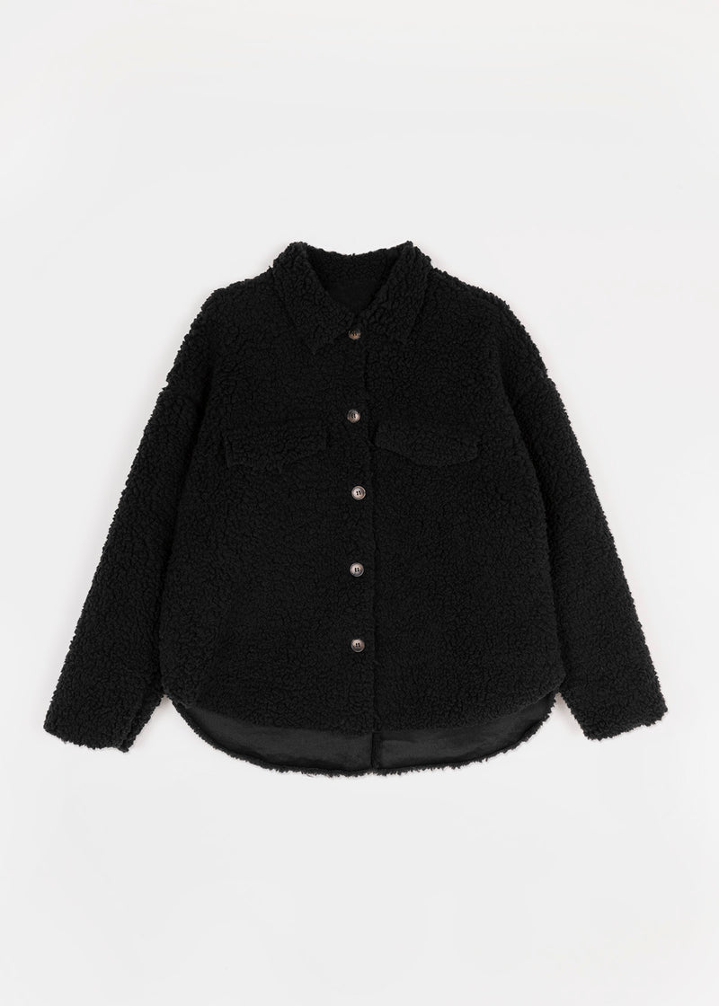 TEDDY COZY OVERSHIRT | BLACK