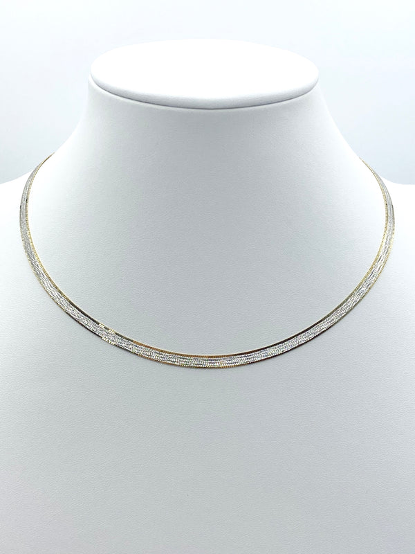 2 Tone Herringbone Necklace