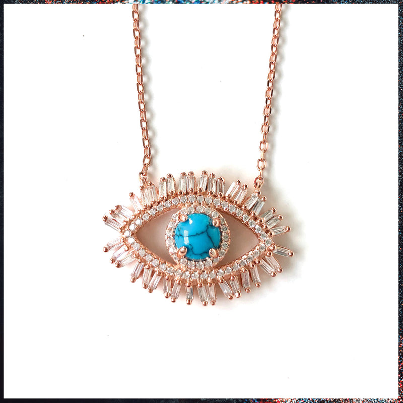 Drip Barre Jewelry Dainty Baguette & Turquoise Evil Eye Necklace