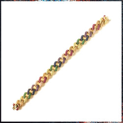Drip Barre Jewelry Baby Rainbow Iced Out Cuban Link Bracelet