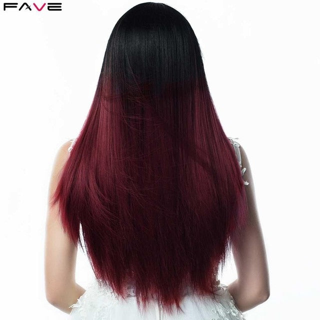 Silk Straight Long Black Synthetic Natural and other Color Wigs