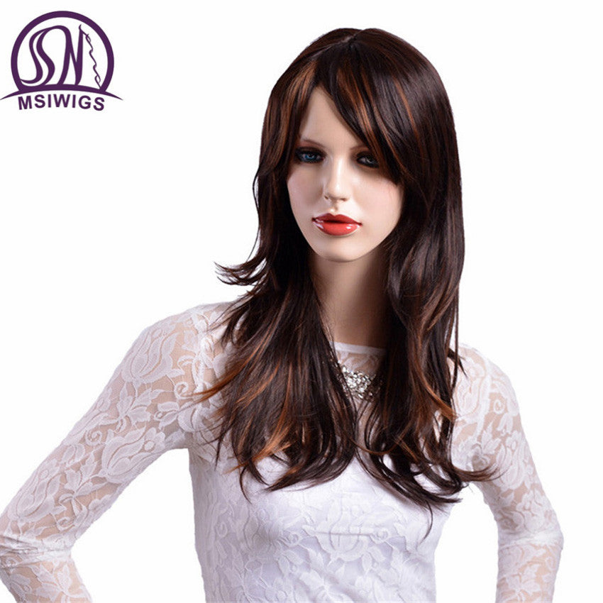 Long Straight Hair Synthetic Wigs Brown with Yellow Highlights Ombre Wig