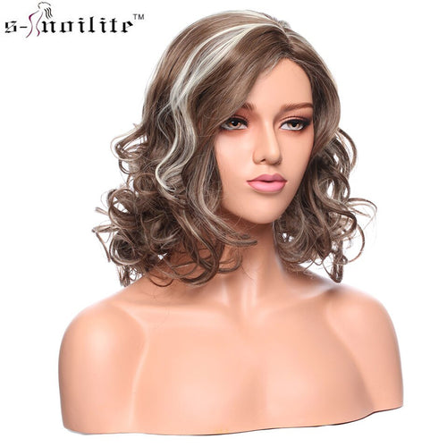 Curly Synthetic natural hairline Layered hair style wig