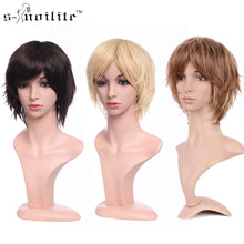Load image into Gallery viewer, Synthetic short wig Pixie Cut style mix color brown straight hair wig