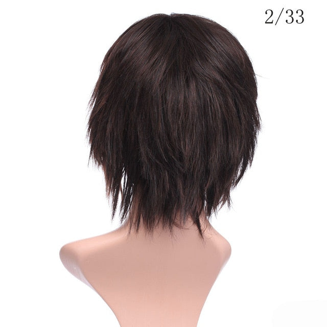 Synthetic short wig Pixie Cut style mix color brown straight hair wig