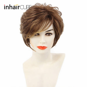 "Short Straight Synthetic Hair Wig 10""with Natural Bangs Pixie Cut with Highlights"