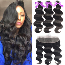 Load image into Gallery viewer, Brazilian Body Wave Human Hair Bundles With Lace Frontal Closure