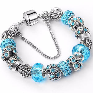 Silver charm Bracelets with Crystal Beads
