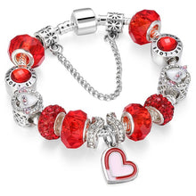 Load image into Gallery viewer, Silver charm Bracelets with Crystal Beads
