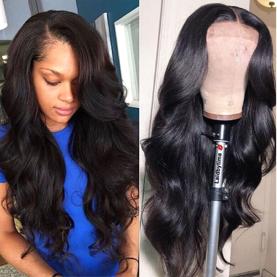 Lace Front Human Hair 13X4 Pre Plucked Non Remy Brazilian Body Wave Wig