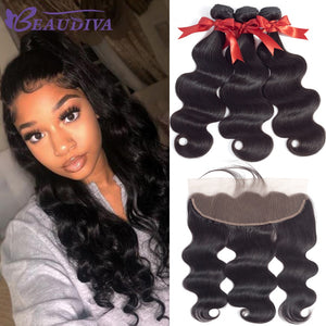 Brazilian Body Wave Human Hair Bundles With Lace Frontal Closure