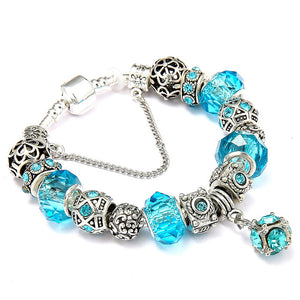 Silver Plated Blue Cystal Beads Charm Bracelet